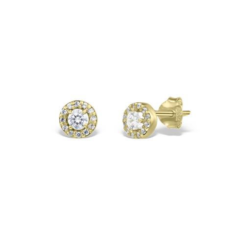 Cercei din aur Entourage cu diamante albe incrustate