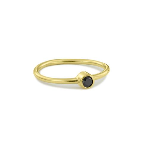 Inel din aur Believe cu diamant negru in caseta