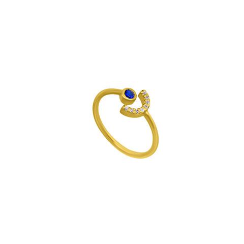 Inel din aur BLUE MOOD cu safir si diamante