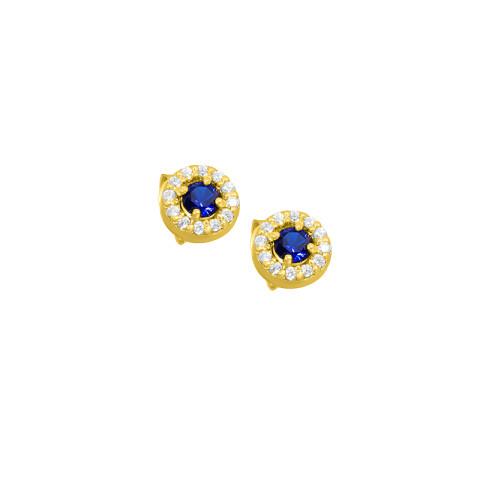 Cercei din aur ENTOURAGE cu diamante si safire