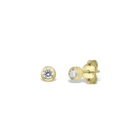 Cercei din aur cu diamante de 3 mm in casete