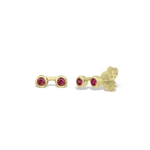 Cercei din aur de 18k cu rubine in casete