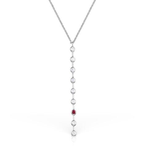 Colier din aur tija verticala cu diamante si rubin in caseta