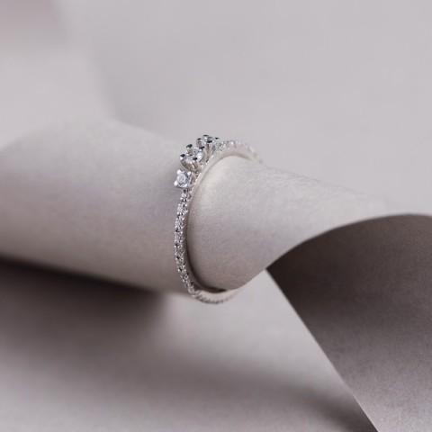 Inel Royal Night Trio cu diamante albe