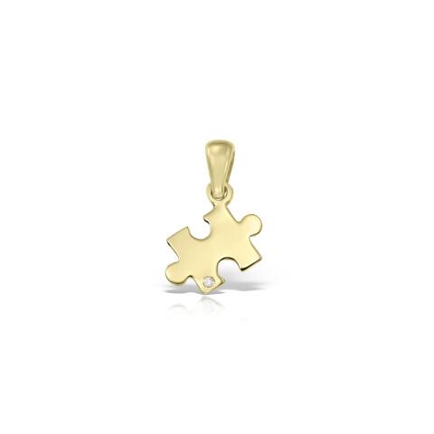 Pandantiv din aur piesa puzzle cu diamant alb