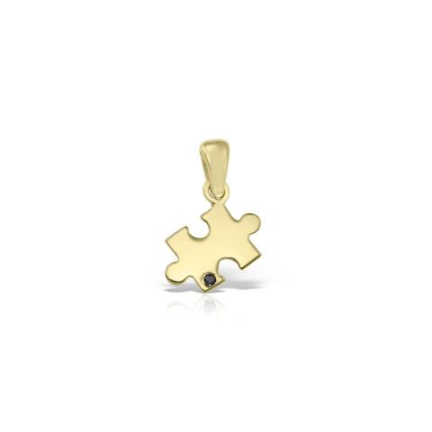Pandantiv din aur piesa puzzle cu diamant negru