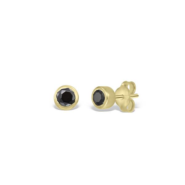 Cercei din aur cu diamante negre de 3 mm in casete