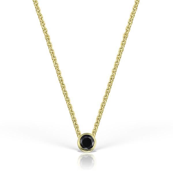 Colier din aur de 18k cu diamant negru de 4 mm in caseta