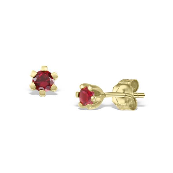 Cercei din aur Tiny Red Drops cu rubine