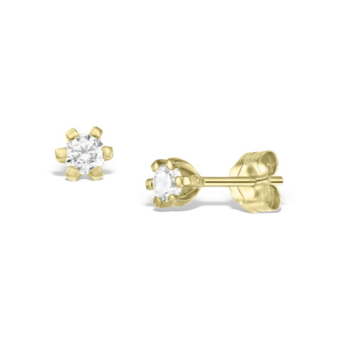 Cercei din aur Tiny White Drops cu diamante albe