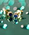 cercei din aur Tiny Blue Drops