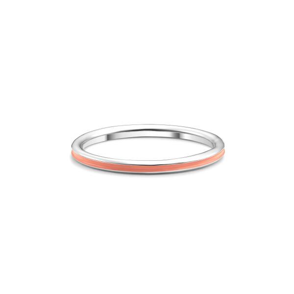 Inel din aur Apricot Pink cu email roz pudrat