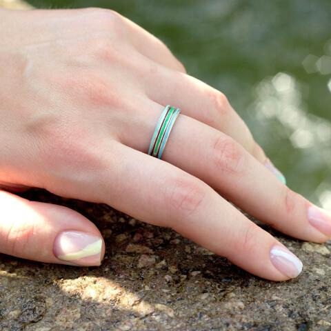 Inel din aur Electric Blue cu email albastru