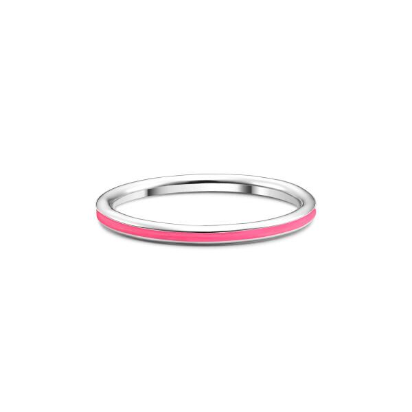 Inel din aur Vivid Pink cu email roz neon