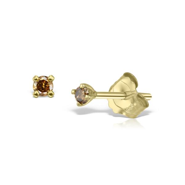Cercei din aur Mini Brown Diamonds Duo