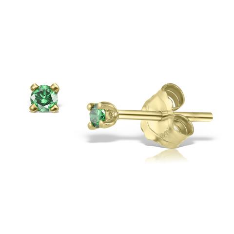 Cercei din aur Mini Green Diamonds Duo
