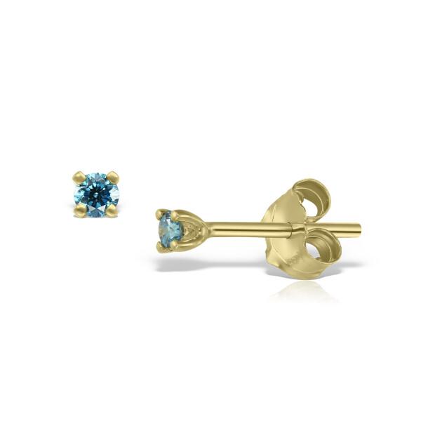 Cercei din aur Mini Light Blue Diamond Duo