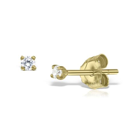 Cercei din aur Mini White Diamonds Duo