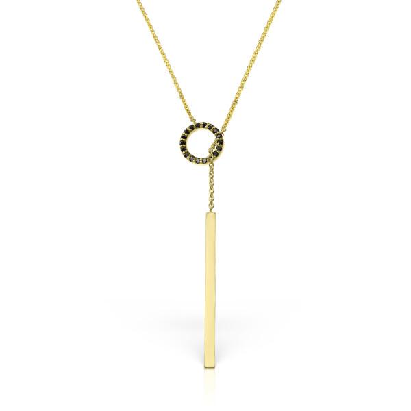Colier din aur Fashion cu diamante negre