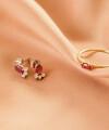 Cercei Secret Whisper cu rubin oval si diamante 2