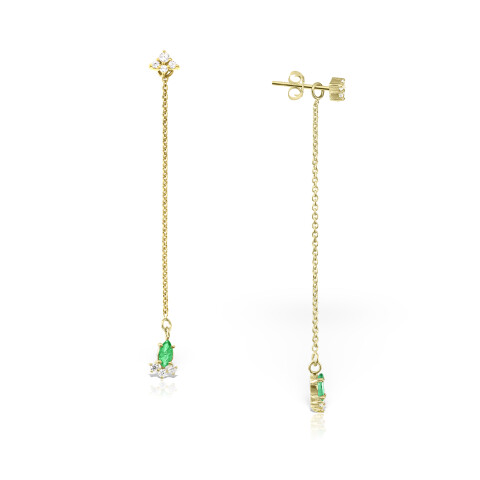 Cercei din aur Soft Glow cu smarald marchiza