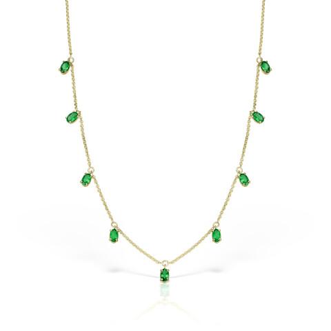 Colier din aur Pure Grace cu smarald oval