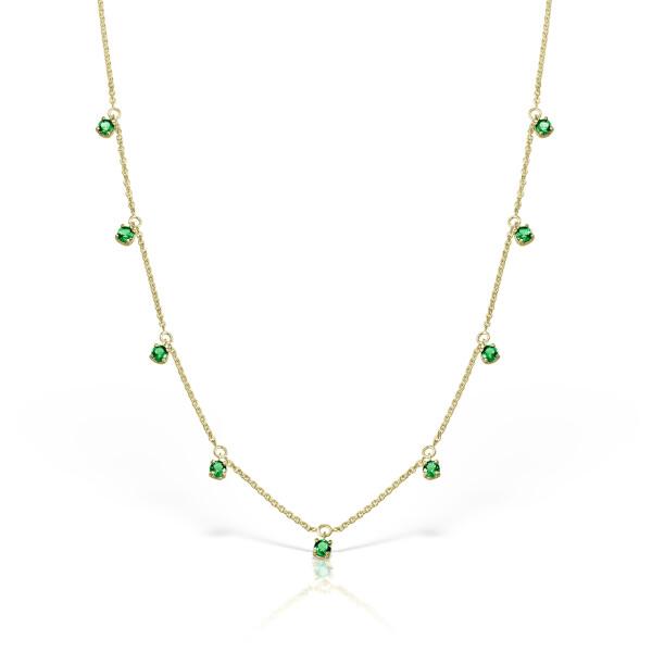 Colier din aur Pure Grace cu smarald rotund